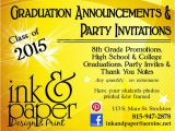 8th Grade Graduation Party Invitations Ink Paper Designs original Graduation Announcements