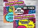 90s Party Invitation Template 90 S theme Fresh Prince Princess Hip Hop Digital