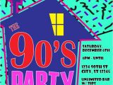 90s Party Invitations 90 39 S theme House Party Digital Birthday Invitation