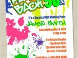90s theme Party Invitations Graffiti Birthday Invitations Neon Party Invitation