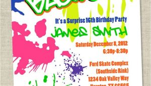 90s theme Party Invitations Graffiti Birthday Invitations Neon Party Invitation