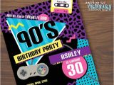 90s themed Birthday Party Invitations 90s Birthday Party Invitation 1990s Flashback Party Invites