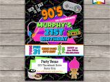 90s themed Birthday Party Invitations Takin It Back to the 90s Retro Birthday Invite Personalized