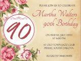 90th Birthday Party Invitations Templates Free 90th Birthday Invitation Wording 365greetings Com
