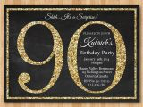 90th Birthday Party Invitations with Photo 90th Birthday Invitation Gold Glitter Birthday Party Invite