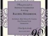 90th Birthday Photo Invitations Decorative Square Border Eggplant 90th Birthday