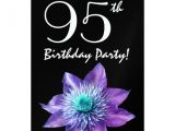 95th Birthday Party Invitations 95th Birthday Party Template Purple Passion Flower Invites