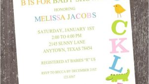 Abc Baby Shower Invitations Alphabet Baby Shower Invitations