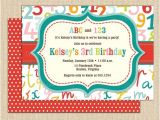 Abc Birthday Party Invitations 16 Best Abcs 123s Birthday Party Images On Pinterest