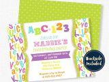 Abc Birthday Party Invitations Abc Birthday Invitation Alphabet Birthday Invitation First