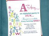 Abc Birthday Party Invitations Alphabet Birthday Invitation Colorful Abc Library Invite