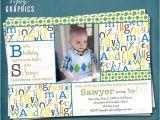 Abc Birthday Party Invitations Alphabet Birthday Party Abc Photo Card Invitation Any