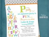 Abc Birthday Party Invitations P is for Party Abc Colorful Alphabet Birthday Party