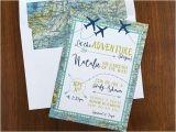 Adventure themed Baby Shower Invitations Adventure Maps Baby Shower Invite Airplanes & Travel theme
