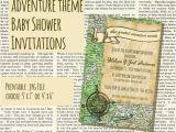 Adventure themed Baby Shower Invitations Adventure or Travel themed Vintage Style Baby Shower