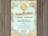 Adventure themed Baby Shower Invitations World Adventure Baby Shower Invitation Hot Air Balloon
