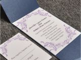 Affordable Pocket Wedding Invitations Elegant Purple Damask Card and Blue Pocket Affordable