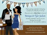 African American Couple Baby Shower Invitations Baby Shower Invitation African American Couple Blue & Brown