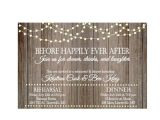 After Wedding Dinner Invitation Wording Vintage Lights On Rustic Wood before Happily Ever after