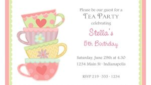 Afternoon Tea Party Invitation Template Free afternoon Tea Party Invitation Template Tea Party