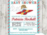 Airplane themed Baby Shower Invitations Red & Turquoise Little Pilot Baby Shower Invitation Boys