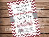 Alabama Baby Shower Invitations Alabama Baby Shower Invitation Chevron Crimson