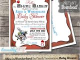 Alice and Wonderland Baby Shower Invitations Alice In Wonderland Baby Shower Invitation Instant Download
