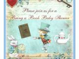 Alice and Wonderland Baby Shower Invitations Bring A Book Alice In Wonderland Baby Shower Invitation