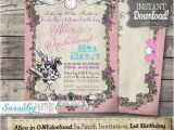 Alice In Onederland Birthday Invitations Alice In Onederland Tea Party Invitation Instant