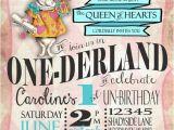 Alice In Onederland Birthday Invitations Boys Girls Alice In Wonderland First Birthday Invitation