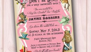 Alice In Wonderland Bridal Shower Invitation Template 5 Best Of Alice In Wonderland Invitations Printable