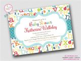 Alphabet Baby Shower Invitations Colorful Abc Alphabet Baby Shower Invitation by Inkberrycards