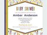 Alphabet Baby Shower Invitations Colorful Alphabet Neutral Baby Shower by Papercleverparty