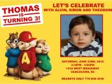 Alvin and the Chipmunks Birthday Party Invitations Alvin and the Chipmunk Custom Birthday Invitation