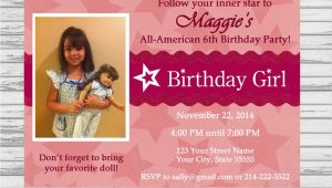 American Girl Doll Birthday Party Invitations American Girl Birthday Party Invitation Doll by