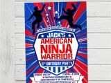 American Ninja Warrior Birthday Invitations American Ninja Warrior Invitation Anw Birthday Invitations Boy