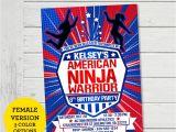 American Ninja Warrior Birthday Invitations Free American Ninja Warrior Girls Invitation Anw Invite