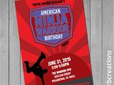 American Ninja Warrior Birthday Invitations Ninja Warrior Invitations Ninja Warrior Party Anw