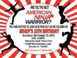 American Ninja Warrior Birthday Party Invitations American Ninja Warrior Invitation