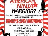 American Ninja Warrior Party Invitations American Ninja Warrior Birthday Invitation