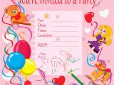An Invitation Card for A Birthday Party Vector Illustration Birthday Party Invitation Kids Stock