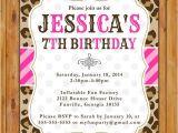 Animal Print Birthday Party Invitations Leopard Print Birthday Party Invite Pink Stripes Polka Dots