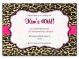 Animal Print Birthday Party Invitations Leopard Print with Pink Trim Personalised Birthday Party