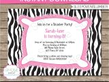 Animal Print Birthday Party Invitations Zebra Birthday Invitations Template Resume Builder