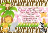 Animal themed Birthday Party Invitation Wording Zoo Jungle Animals Birthday Party Invitation 2nd