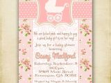 Antique Baby Shower Invitations Pink Shabby Chic Vintage Baby Carriage Baby Shower