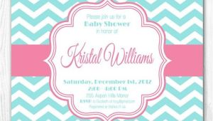 Aqua and Pink Baby Shower Invitations Baby Shower Invitation Pink & Aqua Chevron Diy