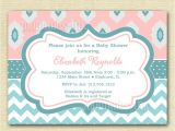 Aqua and Pink Baby Shower Invitations Light Pink and Aqua Ikat and Chevron Baby Shower
