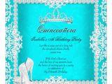 Aqua Quinceanera Invitations Aqua Quinceanera 15th Birthday Tiara High Heels Invitation