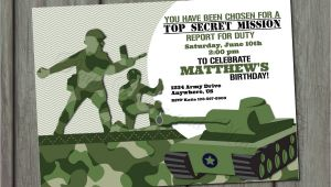 Army Birthday Invitation Template Green Army Men Birthday Invitation by Partyinvitesandmore